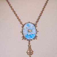 Art Deco Hand Painted Floral Porcelain Pendant Lavalier Necklace / Opalescent Beads / 1930s Jewelry / Jewellery