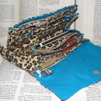 Necessary Clutch Wallet, RTS, Great Handmade Gift, Leopard Print and Blue Lining fabric, NCW, Roomy, Credit Card Slots, iPhone, Wristlet