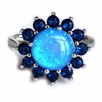 Nice Blue Fire Opal Stone Wedding Ring for Lady