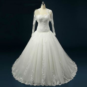 Lace Wedding Dress With Wrap Ball Gown Wedding Dress Long sleeve  Robe