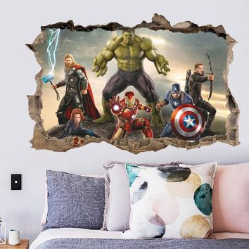 Cartoon Movie Avengers Wall Stickers For Kids Rooms Bedroom Wall Decals 3d Living Room Decoration Mural Boy's Gift