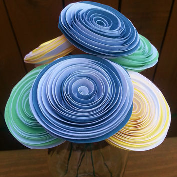 Paper Flower Bouquet - 6 Two-Tone Paper Flowers in Mint, Blue and Yellow - Handmade Paper Flowers for Brides, Weddings, Showers, Birthdays