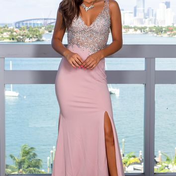 Dusty Rose Jeweled Top Maxi Dress with Open Back