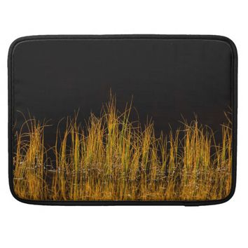 Yellow and orange reed in black water sleeves for MacBook pro