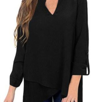 Chic Black Asymmetric Hemline Roll Tab Sleeve Blouse