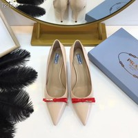 2002 New Arrivals Prada Women Fashion Casual LOW TOP Flats high Heels Shoes top quality pink