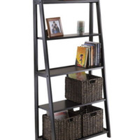 Modern Ladder-Style Bookcase With Five Shelves Office Furniture Black Finish New