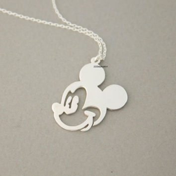 925 sterling silver Mickey Mouse pendant Necklace, N0713S