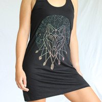 Divine Wolf Dress - Zodiac Constellations. Astrology. Crystal Necklaces. Sacred Geometry - Fiery screen print on an American Apparel Dress.