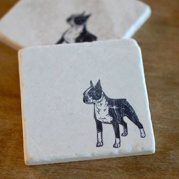 Boston Terrier Dog Marble Coasters