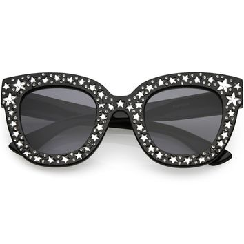 Oversize Star Rhinestones Cat Eye Sunglasses Wide Arms Square Lens 48mm