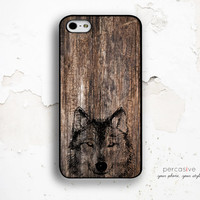 Wolf iPhone 6 Case - iPhone 4 Case, iPhone 4s Case, iPhone 5s Case, Rustic Wood iPhone 6 Case Wolf :0442