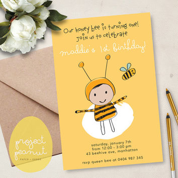 Printable Kids' Party Invitation: Bee