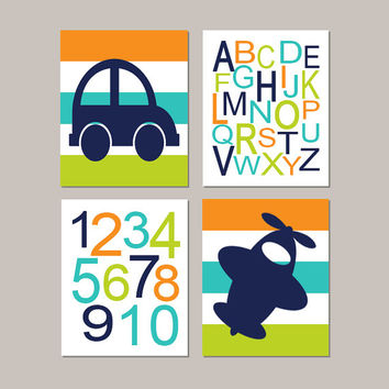 Boy Nursery Decor, Boy Nursery Art, Car Nursery, Airplane Nursery, Alphabet Letters, Transportation Boy Bedroom Set of 4 Prints Or Canvas