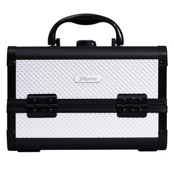 """Joligrace 9"""" Makeup Case Portable Cosmetic Storage Box with Mirror & Trays for Home Bathroom and Travel Silver"""