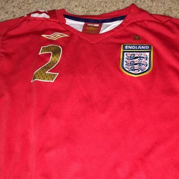 Sale!! Vintage Umbro ENGLAND Soccer Jersey Football Shirt #2 Hare Free US Shipping