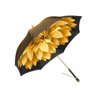 Ladies Umbrella in Gold with Gold Flower