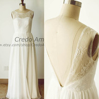 Simple Lace Chiffon Wedding Dress Backless Deep V Back Beach Bridal Gown