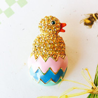 Kirks Folly Retired Hatchling Chick Easter Egg Rhinestone and Enamel Brooch