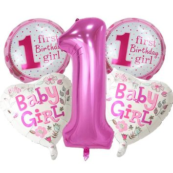 5 pieces Baby 1st Birthday balloons set pink Blue Number Foil Balloons birthday party decorations kids party decoration supplies