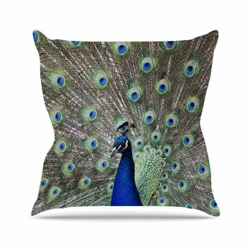 "Qing Ji ""Peacock of Stunning Feathers"" Brown Green Throw Pillow"