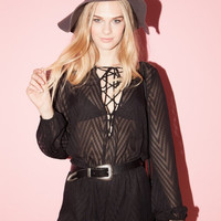 Bowie Black Lace-Up Romper