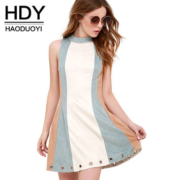 HDY Haoduoyi Summer Contrast Color Bodycon Dress Sexy Party Mini Dress Women Sleeveless Eyelet Detail High Collar Dress
