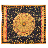 Large Yellow Zodiac Tapestry, Queen Horoscope Astrology Wall Hanging Bedspread on RoyalFurnish.com