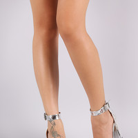 Mirror Patent Open Toe Ankle Strap Chunky Heel