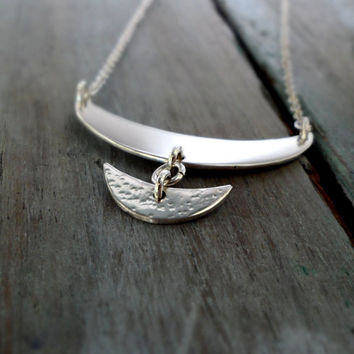 Sterling Silver Double Crescent Necklace.  Boho inspired Stetement Necklace.