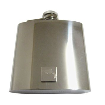 Silver Toned Etched Jumping Killer Whale Orca 6 Oz. Stainless Steel Flask