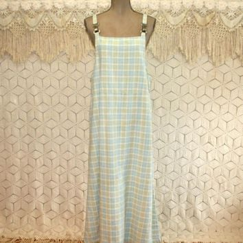 Womens Jumper Dress Long Pastel Plaid Maxi Linen Cotton Large Overall Dress Womens Dresses Vintage Clothing Womens Clothing