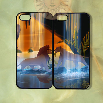 Nala and Simba Couple Case-iPhone 5, iphone 4s, iphone 4 case, ipod 5, Samsung GS3-Silicone Rubber or Hard Plastic Case, Phone cover