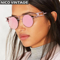 Gothic Vintage Steampunk Sunglasses Women Retro Round Metal Cool Sun Glasses Female UV400 Protection Gold Frame Woman Shades
