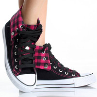 3028 Plaid Fold Over High Top Sneakers