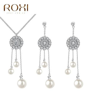 2017 ROXI Jewelry Set Charms Cream Imitation Pearl Cute Long Necklace/Stud Earrings for Mother's Gift TOP Quality Pendant Chains