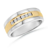 0.21 cttw Polished Two-Tone Diamond Men's Wedding Band - WRMD_SR0805D