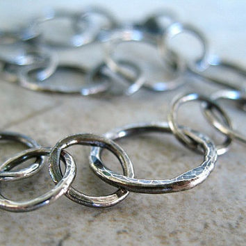 Fine Silver Bracelet, Circles, Hammered Jewelry