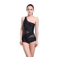 Black One Piece Swimwear Women Plus Size Swimsuit High Waist Retro Bathing Suits Mesh Beachwear Padding top One Shoulder 8521