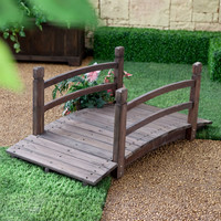 4-Ft Wooden Garden Bridge in Fir Wood with Dark Brown Stain and Rails