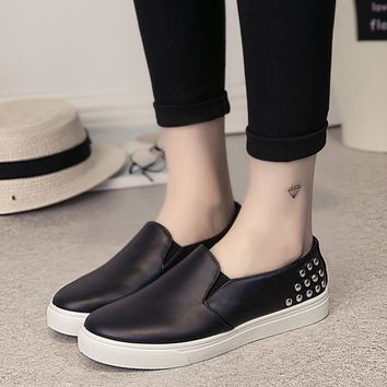 2017 rivets loafers women flats shoes casual slip on flat shoes woman spring vintage b
