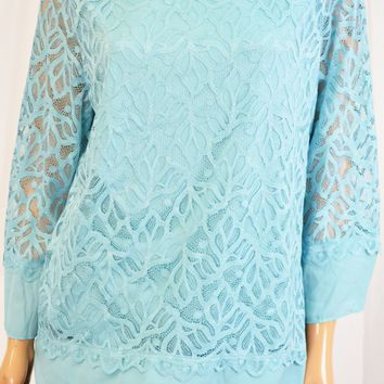 Charter Club Women 3/4 Sleeve Blue Chiffon hem Lace Blouse Top XL