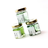 3 Green In Nature Scented Candles Set - Gel Mini Candles Sampler - You Pick Scents or Scotch Pine Sage Citrus Lily Valley - Green Candles