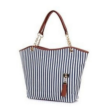 Striped Casual Tote Women Canvas Handbag Casual Single Shoulder Shopping Bags Beach Zipper Large Bag Sac A Main Bolsa