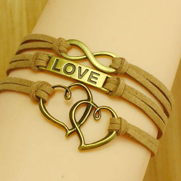 Infinity wish ,  Love and    Heart Bracelet   karma  Antique bronze  suede cord Best Chosen Gift