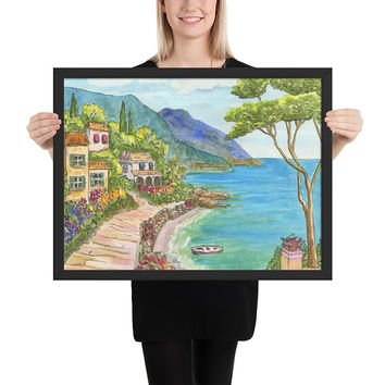 Seaside Village Framed Art Print -  Landscape painting, watercolor, Mediterranean shore, coastal art