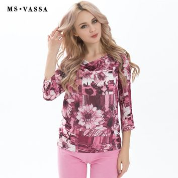 New T-shirt Summer Spring Women Tees Three Quarter Sleeve O-neck Vintage Flower Print Casual Women Tops