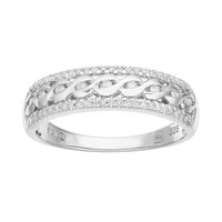 Promise Love Forever 1/4 Carat T.W. Sterling Silver Braided Ring (White)