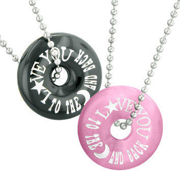 Love You to the Moon and Back Best Friends Love Couples Amulets Agate Pink Simulated Cats Eye Necklaces