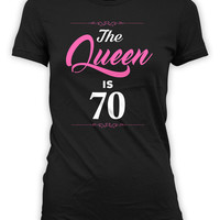 70th Birthday T Shirt Custom Birthday Gifts For Women Grandma Gift Ideas Bday Present B Day The Queen Is 70 Years Old Ladies Tee - BG264